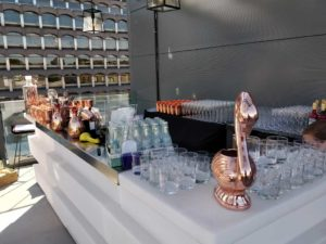 Outdoor bar at Farringdon rooftop event