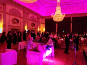 Guests at charity event uplighting