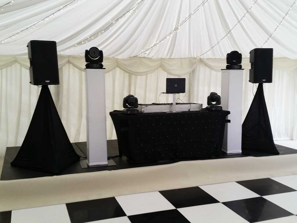 DJ Wedding Set Up Speakers Lighting Staging