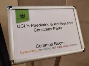 UCL Christmas party Room Entrance