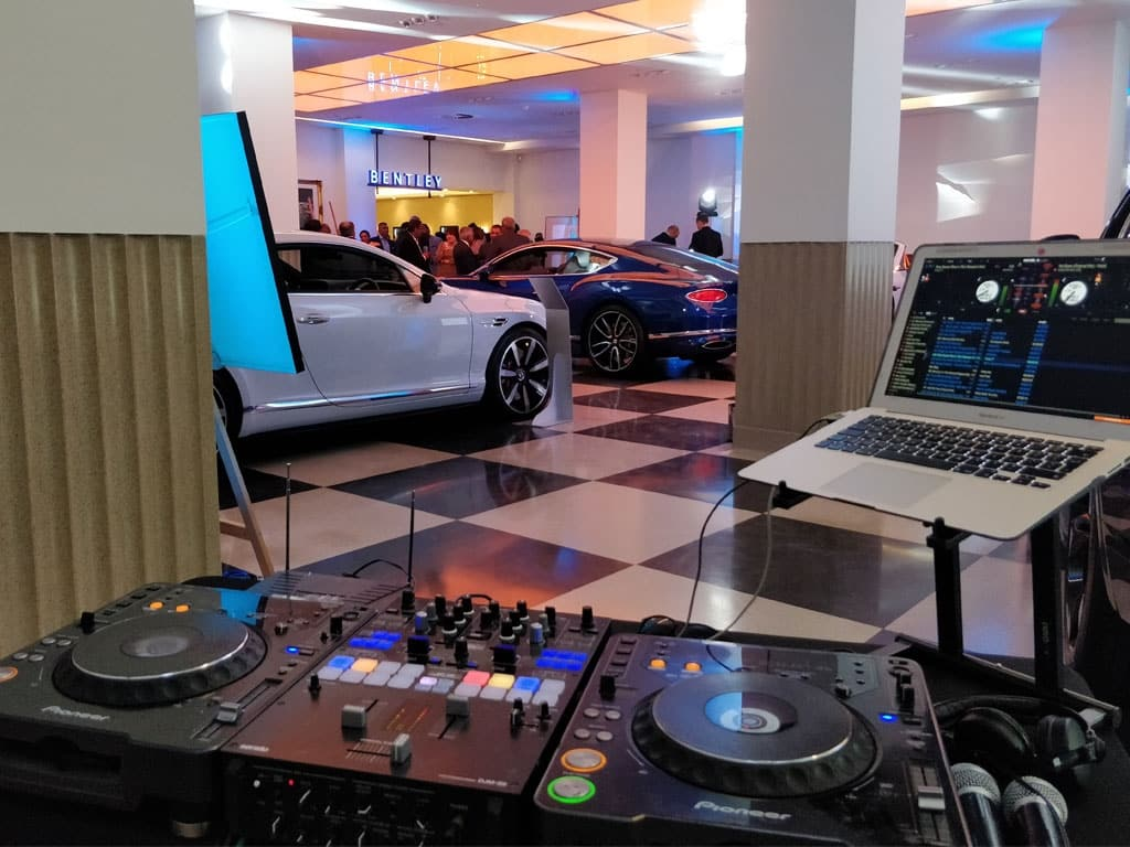 Corporate Event DJ Set Up Bentley