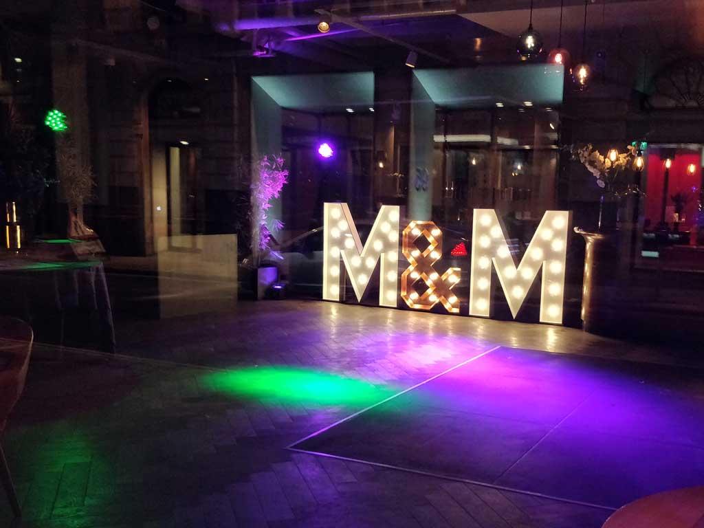 Anthologist Bar DJ Hire Wedding Letters
